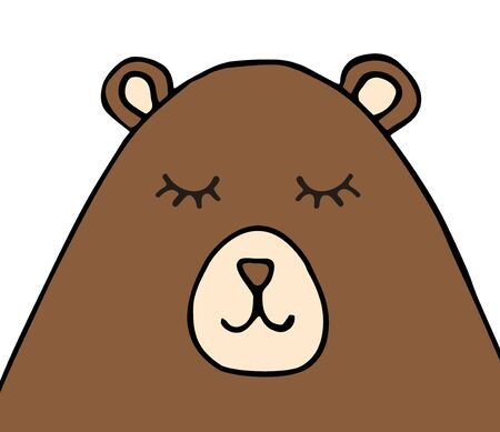 Vector hand drawn doodle sketch brown bear face isolated on white background Фото со стока - 137785101