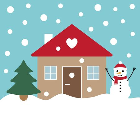 Vector flat cartoon winter landscape with house snowman and Christmas tree isolated on blue background