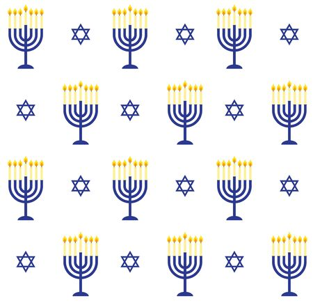 Vector seamless pattern of blue flat cartoon Hanukah candles and jewish stars isolated on white background