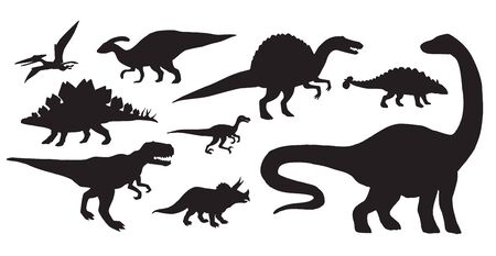 Vector set bundle of black dinosaurs silhouette isolated on white background Фото со стока - 137785090
