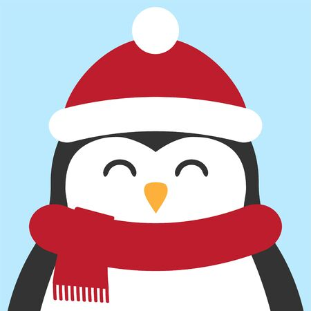 Vector flat cartoon penguin face in winter hat and scarf isolated on pastel blue background