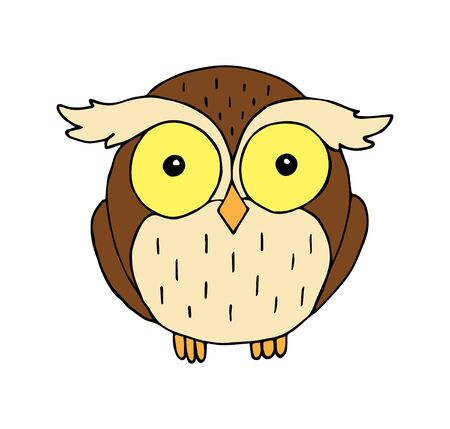 Vector colored hand drawn doodle sketch owl isolated on white background