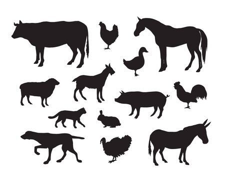 Vector set bundle of black domestic animals silhouette isolated on white background