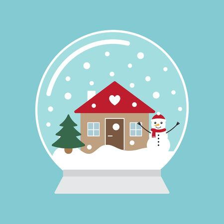 Vector flat cartoon snowball with house landscape isolated on blue background Фото со стока - 137787408