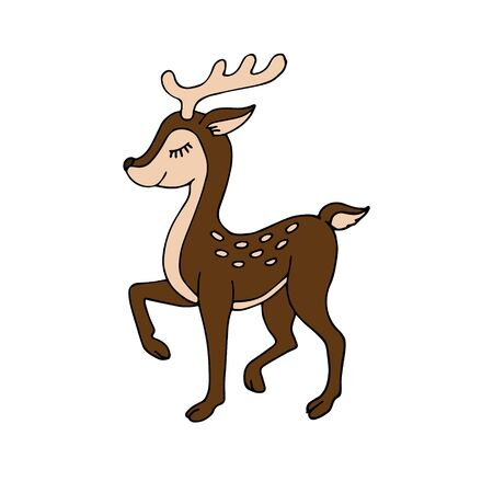Vector hand drawn doodle sketch colored baby deer isolated on white background Ilustração