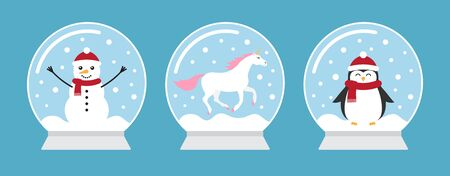 Vector flat cartoon set bundle of three snowballs with unicorn snowman and penguin isolated on blue background