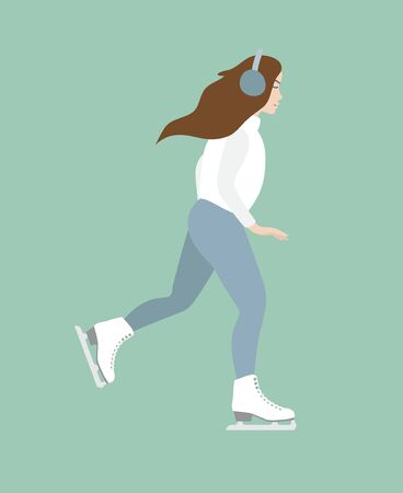 Vector flat cartoon woman girl riding ice skates isolated on mint background Фото со стока - 137791398