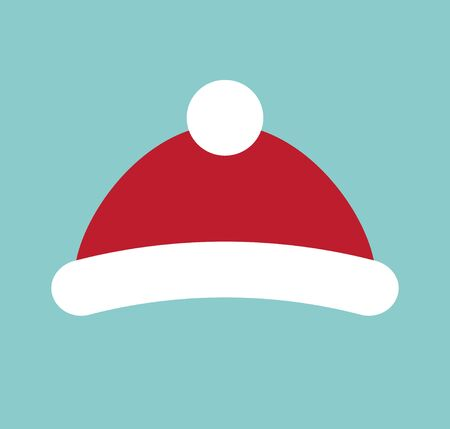 Vector flat cartoon red winter hat isolated on blue background Фото со стока - 137790832