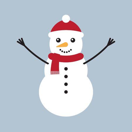 Vector flat cartoon snowman isolated on blue gray background