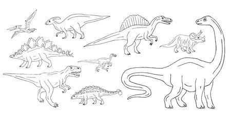 Vector conjunto paquete de dinosaurios de bosquejo de doodle dibujados a mano aislados sobre fondo blanco
