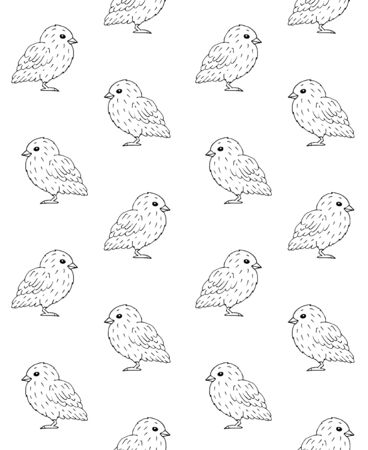 Vector seamless pattern of hand drawn doodle sketch baby chicks isolated on white background