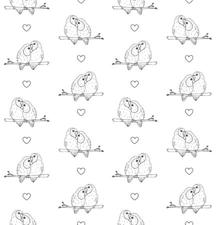 Vector seamless pattern of hand drawn doodle sketch lovebirds parrots pair isolated on white background Ilustração