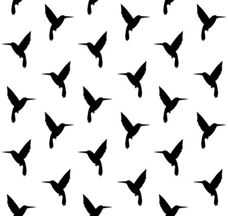 Vector seamless pattern of black hummingbird silhouette isolated on white background