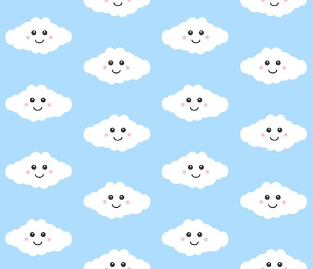 Vector seamless pattern of flat cartoon kawaii cloud with face isolated on blue background