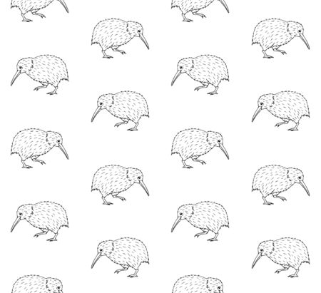 Vector seamless pattern of hand drawn doodle sketch kiwi bird isolated on white background