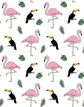 Vector seamless pattern of hand drawn doodle sketch flamingo and toucan isolated on white background