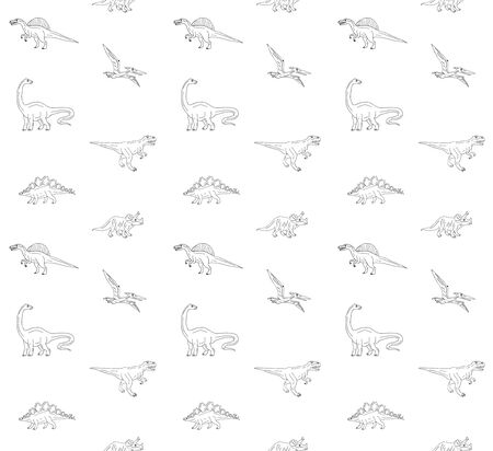 Vector seamless pattern of hand drawn doodle sketch different dinosaur isolated on white background Ilustração