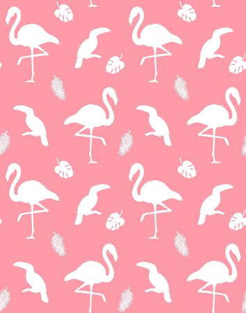 Vector seamless pattern of flamingo and toucan silhouette isolated on pink background