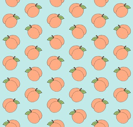 Vector seamless pattern of hand drawn doodle sketch peach isolated on mint blue background Ilustração