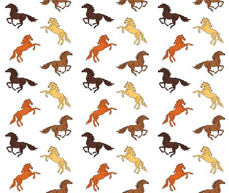 Vector seamless equestrian pattern of different colored drawn doodle sketch running horse isolated on white background