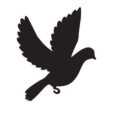Vector silueta de paloma voladora negra aislada sobre fondo blanco