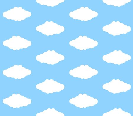 Vector seamless pattern of flat cartoon cloud isolated on blue background