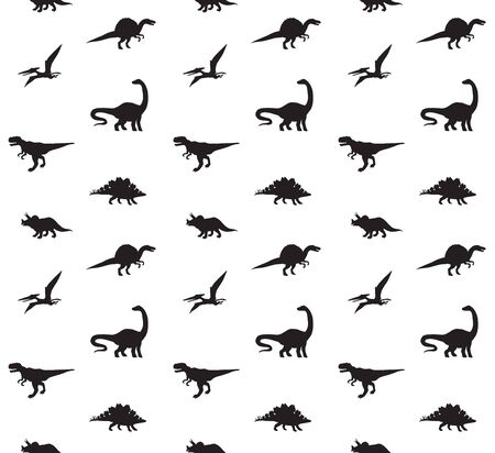Vector seamless pattern of black different dinosaur silhouette isolated on white background
