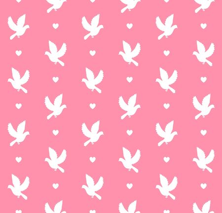 Vector white flying dove silhouette isolated on pink background Ilustração