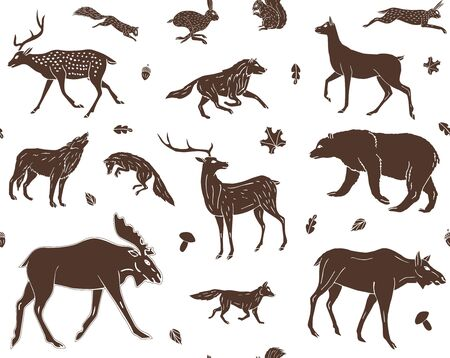 Vector seamless pattern of brown hand drawn doodle sketch forest animals isolated on white background
