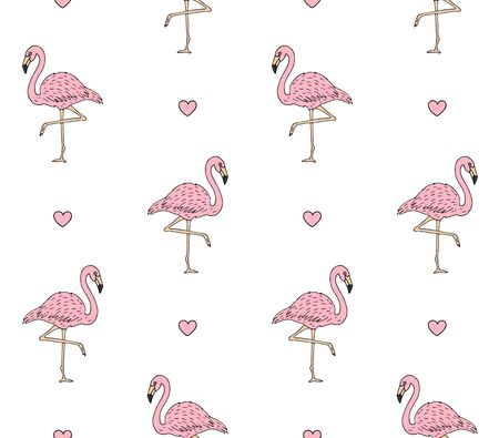 Vector seamless pattern of hand drawn doodle sketch pink flamingo and hearts isolated on white background Ilustração