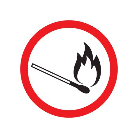 Vector flat black outline burning match in red circle isolated on white background. Fire prohibited sign