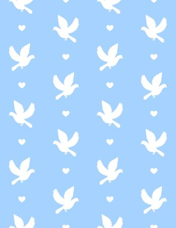 Vector white flying dove silhouette isolated on blue background Иллюстрация