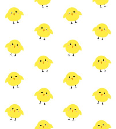 Vector seamless pattern of flat cartoon yellow chick isolated on white background