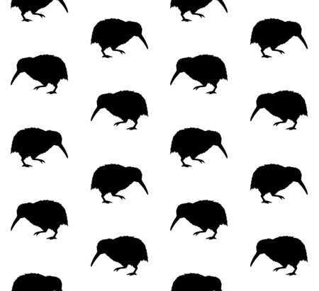 Vector seamless pattern of black kiwi bird silhouette isolated on white background Иллюстрация