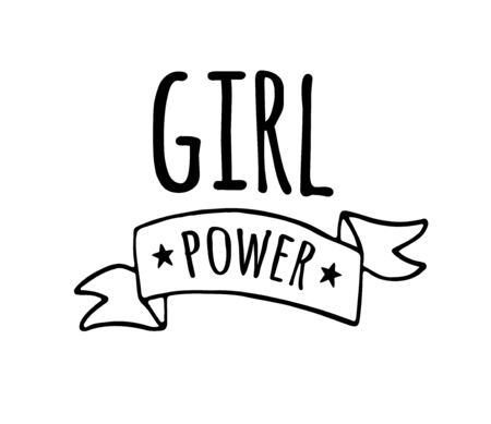 Vector hand drawn doodle illustration in simple style with phrase girl power. feminism quote and women motivational slogan print isolated on white background