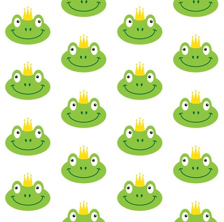 Vector seamless pattern of flat cartoon green princess frog face in crown isolated on white background