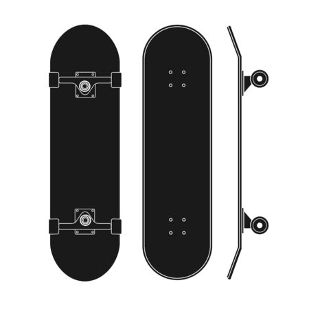 Vector flat black outline skateboard set isolated on white background
