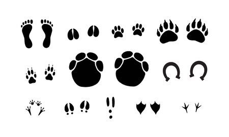 Vector set bundle of black outline different animals foot print isolated on white background Illustration