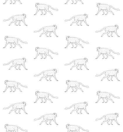 Vector seamless pattern of hand drawn doodle sketch monkey isolated on white background