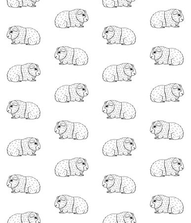 Vector seamless pattern of hand drawn doodle sketch Guinea pig isolated on white background