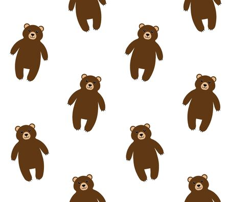 Vector seamless pattern of flat cartoon brown grizzly bear isolated on white background Иллюстрация