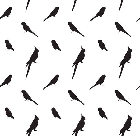 Vector seamless pattern of black different parrots silhouette isolated on white background Иллюстрация