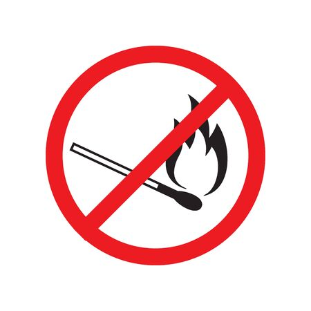 Vector flat black outline burning match crossed in red circle isolated on white background. Fire prohibited sign