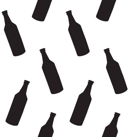 Vector seamless pattern of black beer bottle silhouette isolated on white background Иллюстрация