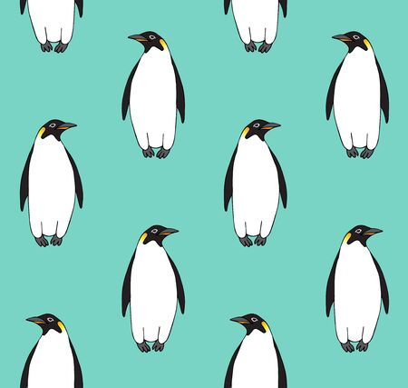 Vector seamless pattern of hand drawn doodle sketch emperor penguin isolated on mint blue background