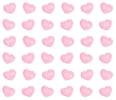 Vector seamless pattern of pink drawn doodle sketch valentine candy hearts with love text isolated on white background