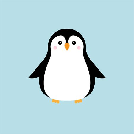 Vector flat cartoon kawaii penguin isolated on blue background
