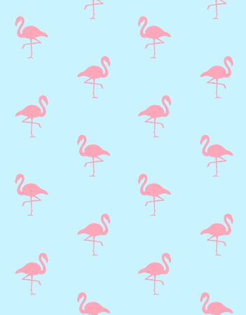 Vector seamless pattern of pink flamingo silhouette isolated on pastel blue background Иллюстрация