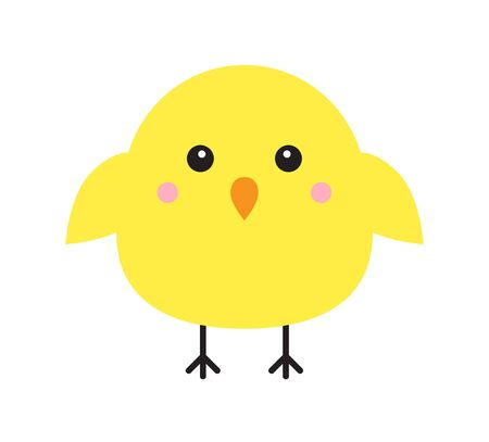 Vector flat cartoon yellow chick isolated on white background