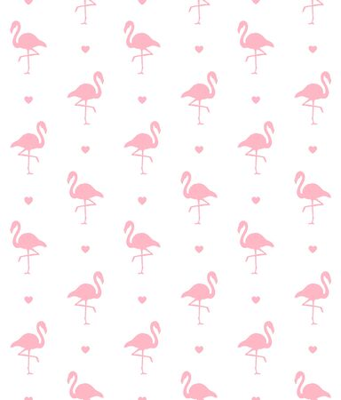 Vector seamless pattern of pink flamingo silhouette and heart isolated on white background